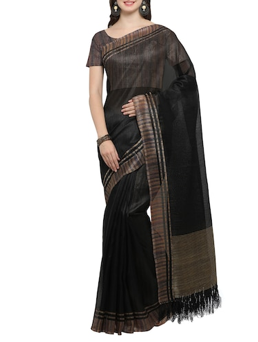 black bordered saree with blouse - 14462182 - Standard Image - 1