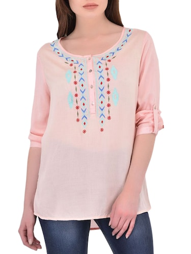 pink cotton casual tunic - 14464343 - Standard Image - 1