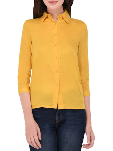 Yellow cotton shirt - 14464359 - Standard Image - 1