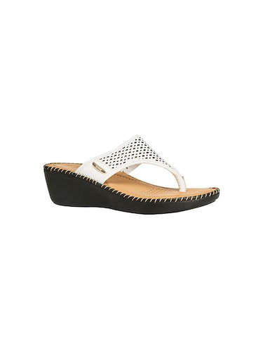 white leatherette slippers - 14464636 - Standard Image - 1