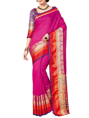 pink bordered saree with blouse - 14465521 - Standard Image - 1
