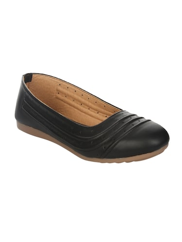 black faux leather slip on ballerina - 14465645 - Standard Image - 1