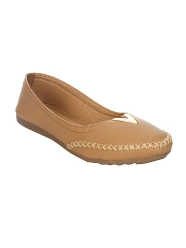 tan faux leather slip on ballerina - 14465649 - Standard Image - 1