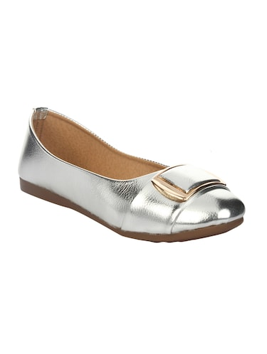 silver faux leather slip on ballerina - 14465654 - Standard Image - 1