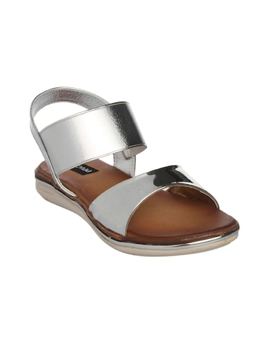 silver faux leather back strap sandals - 14465685 - Standard Image - 1