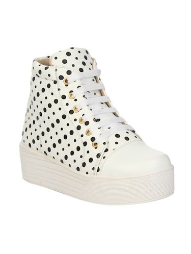 white faux leather laceup sneakers - 14465703 - Standard Image - 1