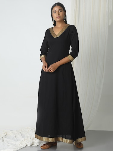 TrueBrowns black cotton a-line gown - 14466000 - Standard Image - 1