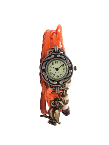 Angel Glitter hipster beaded orange leather watch - 14466105 - Standard Image - 1