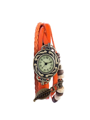 Angel Glitter hipster beaded orange leather watch - 14466122 - Standard Image - 1