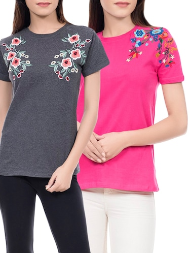 set of 2 multi colored viscose tee - 14466213 - Standard Image - 1