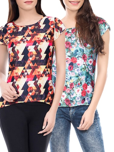 set of 2 multi colored printed top - 14466215 - Standard Image - 1