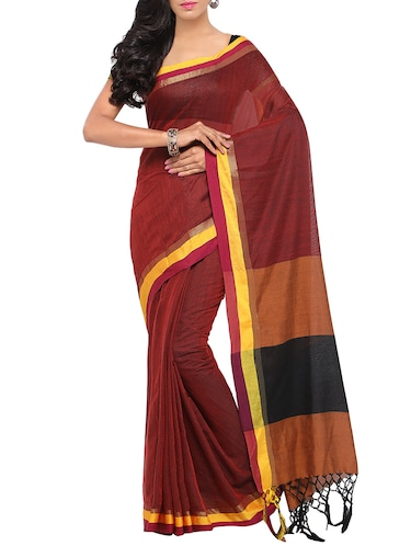 red bordered saree with blouse - 14467647 - Standard Image - 1