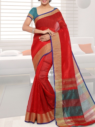 red bordered saree with blouse - 14467667 - Standard Image - 1