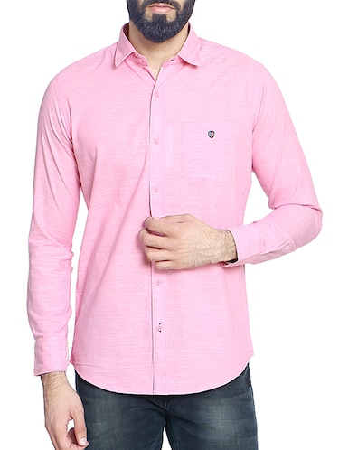 pink cotton blend casual shirt - 14467786 - Standard Image - 1