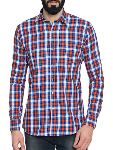red cotton blend casual shirt - 14467814 - Standard Image - 1