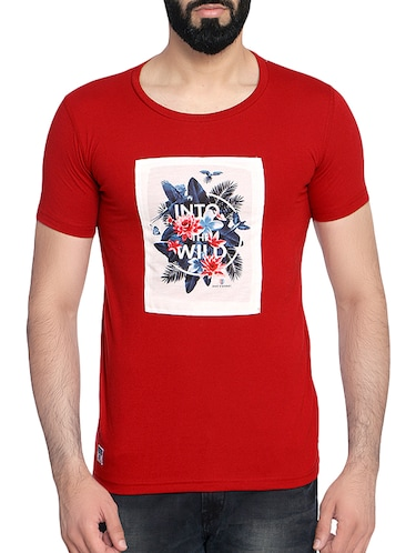 red cotton chest print t-shirt - 14467899 - Standard Image - 1