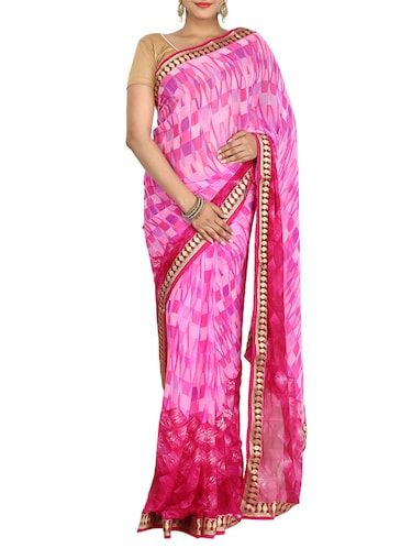 pink georgette printed saree with blouse - 14468057 - Standard Image - 1