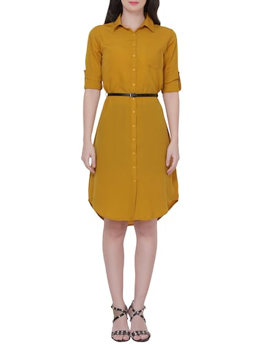 Yellow crepe shirt dress - 14468099 - Standard Image - 1