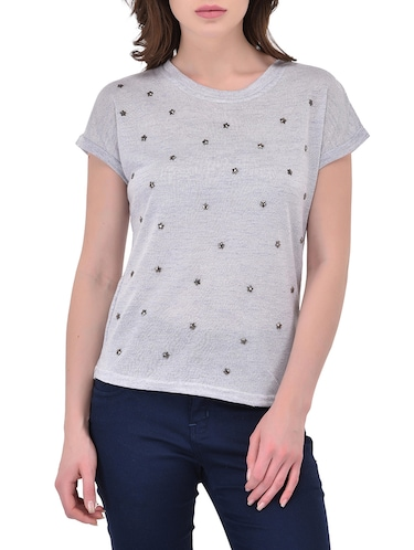 grey poly cotton top - 14468180 - Standard Image - 1