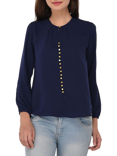navy blue cotton top - 14468248 - Standard Image - 1