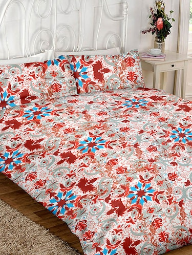 Floral Print Cotton Double Bedsheet with 2 Pillow Covers - 14469076 - Standard Image - 1