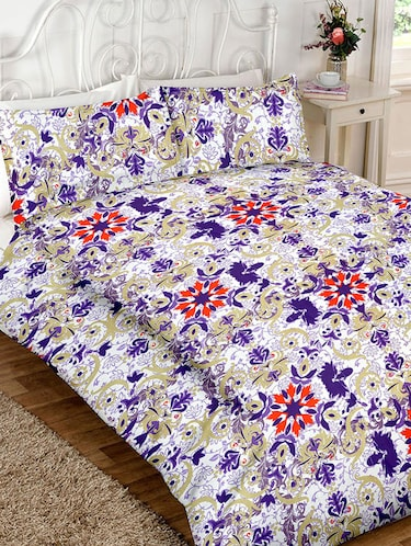 Floral Print Cotton Double Bedsheet with 2 Pillow Covers - 14469078 - Standard Image - 1