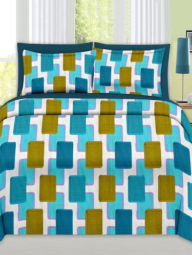 Check Print Cotton Double Bedsheet with 2 Pillow Covers - 14469085 - Standard Image - 1