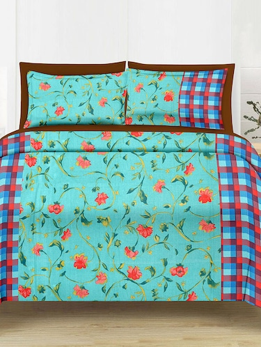 Floral Print Cotton Double Bedsheet with 2 Pillow Covers - 14469090 - Standard Image - 1