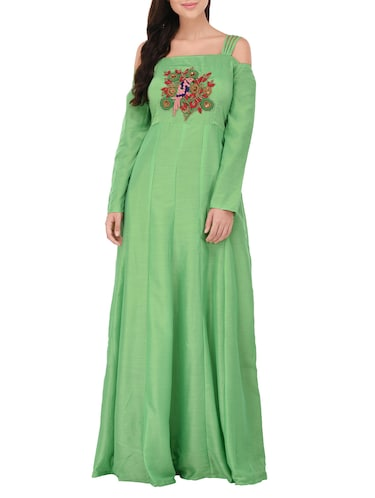 green cotton anarkali kurta - 14469098 - Standard Image - 1