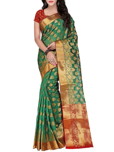 green silk banarasi saree with blouse - 14469400 - Standard Image - 1
