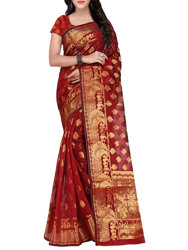 maroon silk blend banarasi saree with blouse - 14469426 - Standard Image - 1