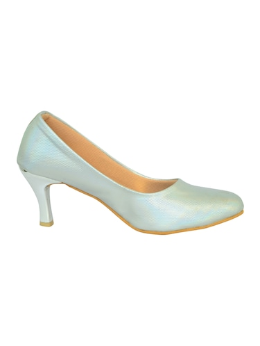 silver faux leather slip on pumps - 14469818 - Standard Image - 1