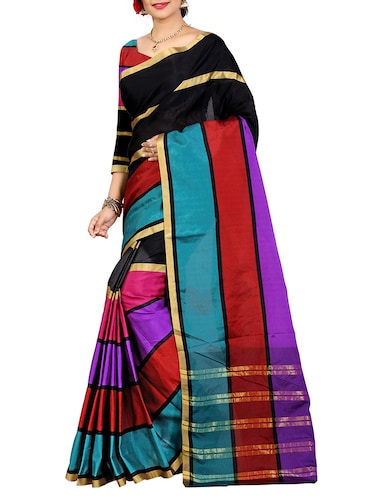 Multicolored printed saree with blouse - 14471077 - Standard Image - 1