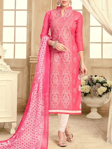pink chanderi cotton churidaar suits dress material - 14471156 - Standard Image - 1