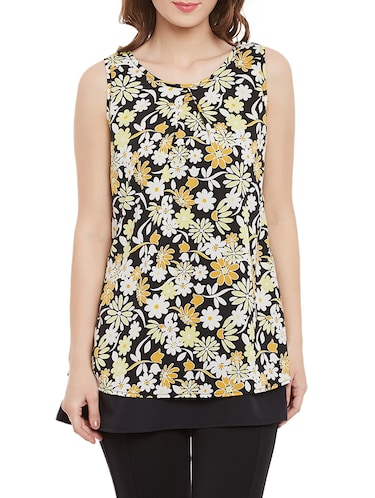 Black floral sleeveless top - 14471364 - Standard Image - 1