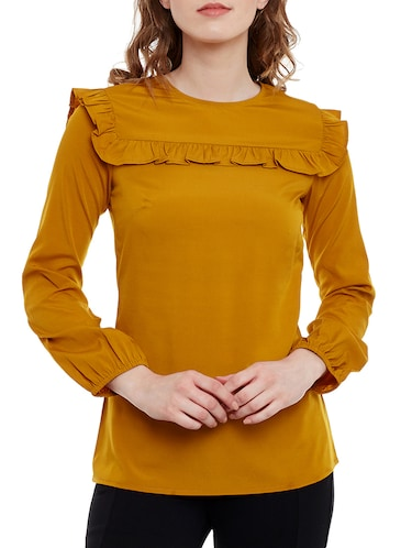 Mustard Yellow crepe regular top - 14471374 - Standard Image - 1