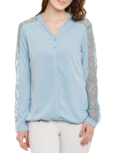 light blue full sleeved top - 14471377 - Standard Image - 1