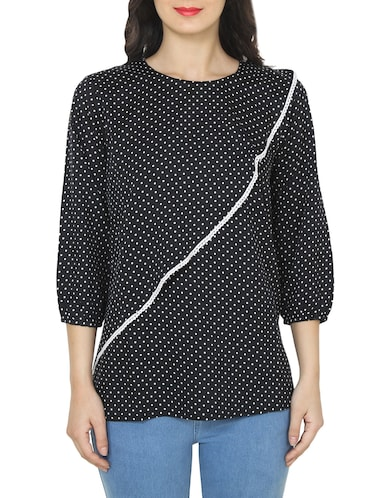 black polka dot printed top - 14472282 - Standard Image - 1
