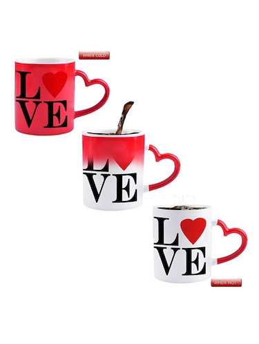 RED HEART SHAPE LOVE DESIGN Printed Color Changing Magic Mug - 14472991 - Standard Image - 1