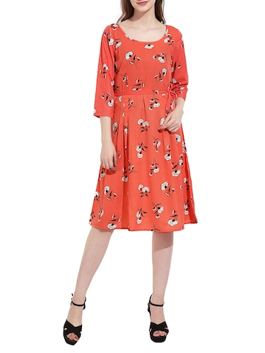 Orange printed a-line dress - 14473031 - Standard Image - 1