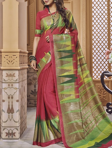 coral red bhagalpuri saree with blouse - 14473310 - Standard Image - 1