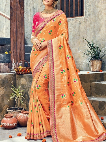 orange raw silk woven saree with blouse - 14473318 - Standard Image - 1