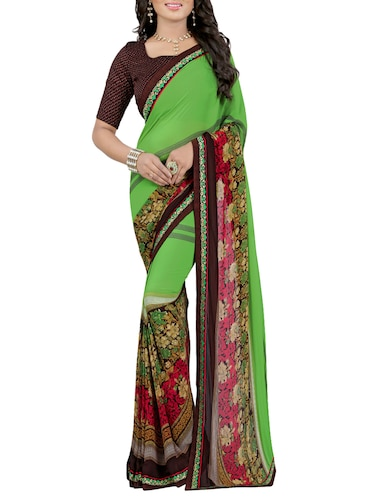 green georgette printed saree with blouse - 14473689 - Standard Image - 1