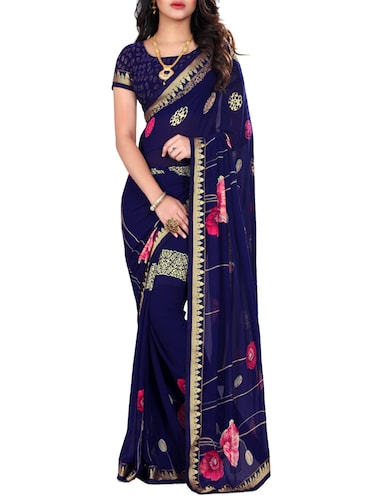 red georgette printed saree with blouse - 14473696 - Standard Image - 1