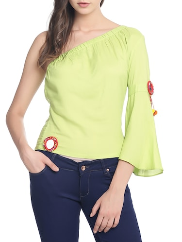green solid single shoulder top - 14474230 - Standard Image - 1