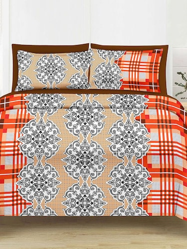 Check Print Cotton Double Bedsheet with 2 Pillow Covers - 14474405 - Standard Image - 1