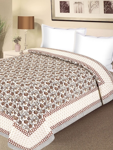 Floral Print Pure Cotton Double Duvet Cover - 14474653 - Standard Image - 1