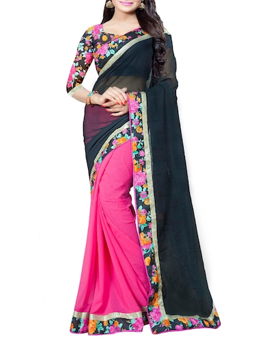 black and pink half & half saree with blouse - 14478216 - Standard Image - 1
