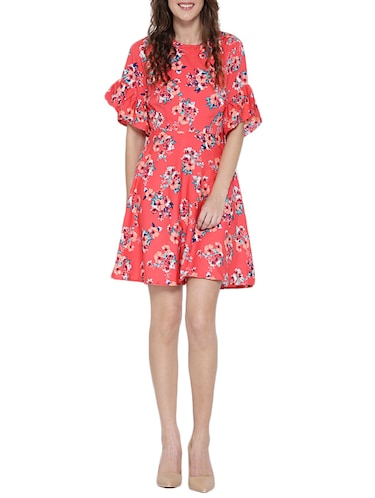 Pink printed A-line dress - 14478373 - Standard Image - 1