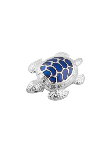 silver rhodium with blue meena brooch - 14480689 - Standard Image - 1